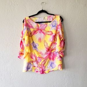 ESCADA PINK/YELLOW PUFF FLORAL BLOUSE.  SIZE 44